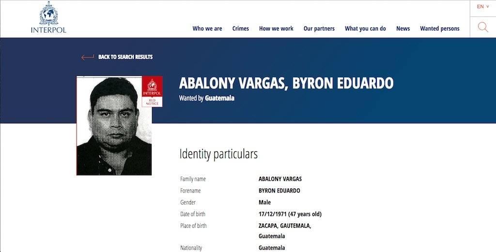 Byron Eduardo Abalony Vargas, buscado por la Interpol. Foto: Publinews