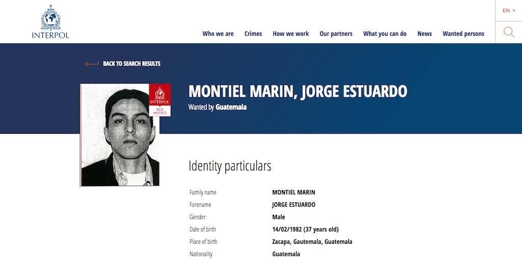 Jorge Estuardo Montiel Marín, buscado por la Interpol. Foto: Publinews