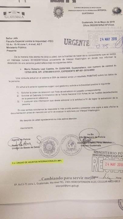 Oficio de Interpol acerca de las gestiones contra Mario Leal Castillo. Foto: Cortesía