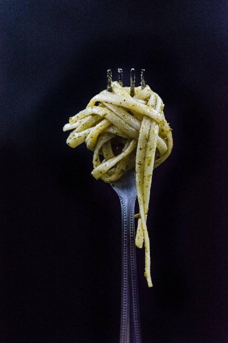 Pasta en tenedor