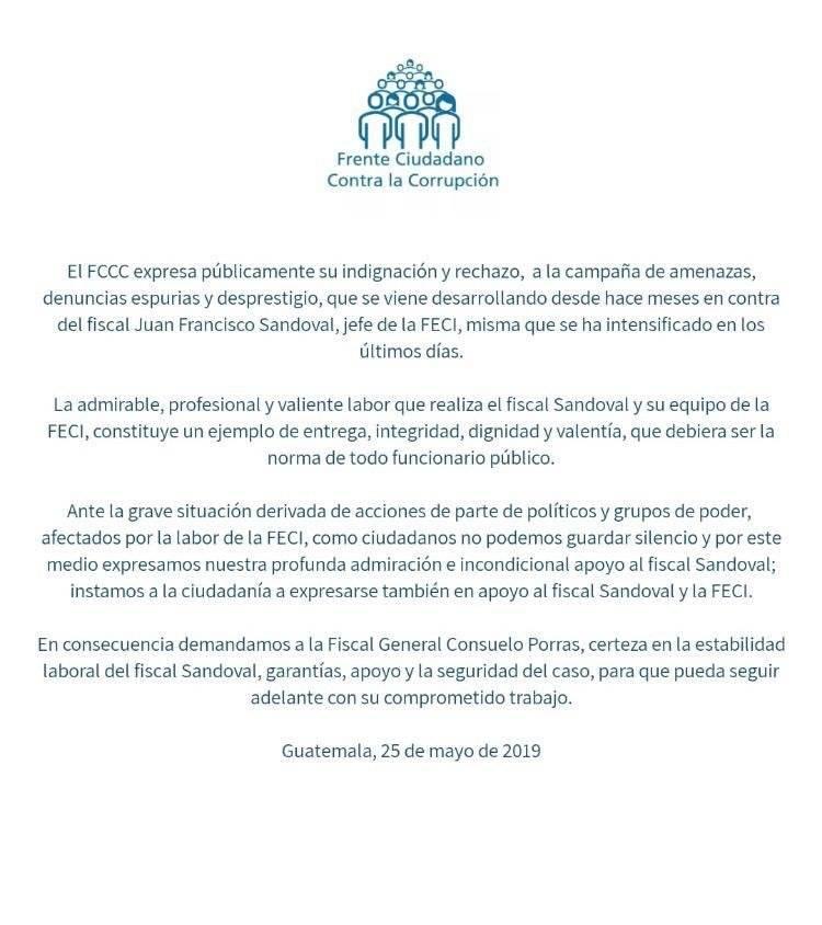 Apoyan gestión de Juan Francisco Sandoval. Foto: FCCC