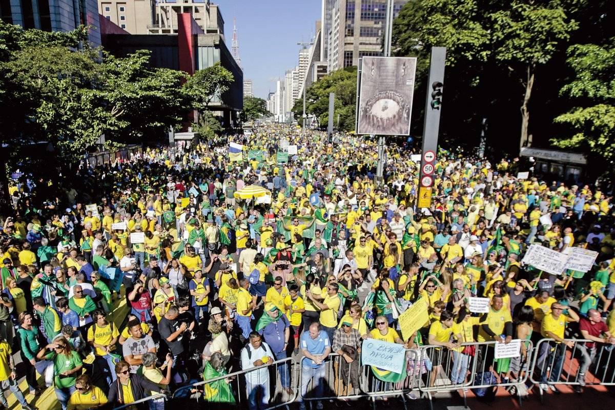 Maiores concentrações na avenida Paulista foram registradas entre 14h e 17h Suamy Beydoun/AGIF/Folhapress