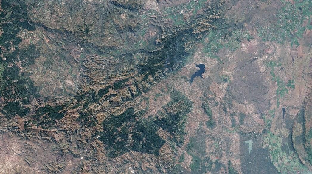 Imagen satelital del Cinturón de rocas verdes de Barberton