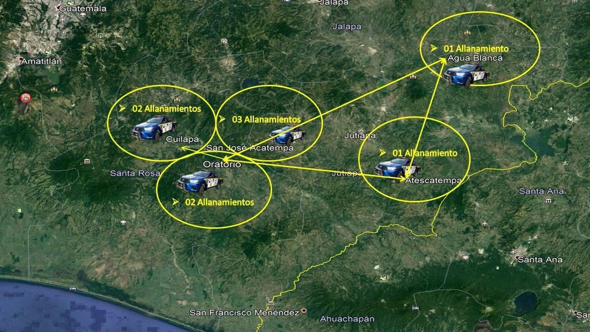 operativo en Jutiapa y Santa Rosa por allanamientos ilegalesl