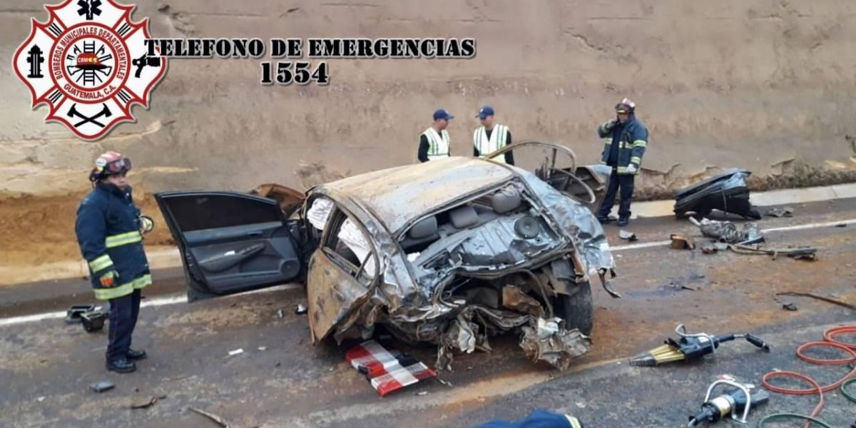 Rescatan con equipo especial a herido tras accidente en libramiento de Chimaltenango