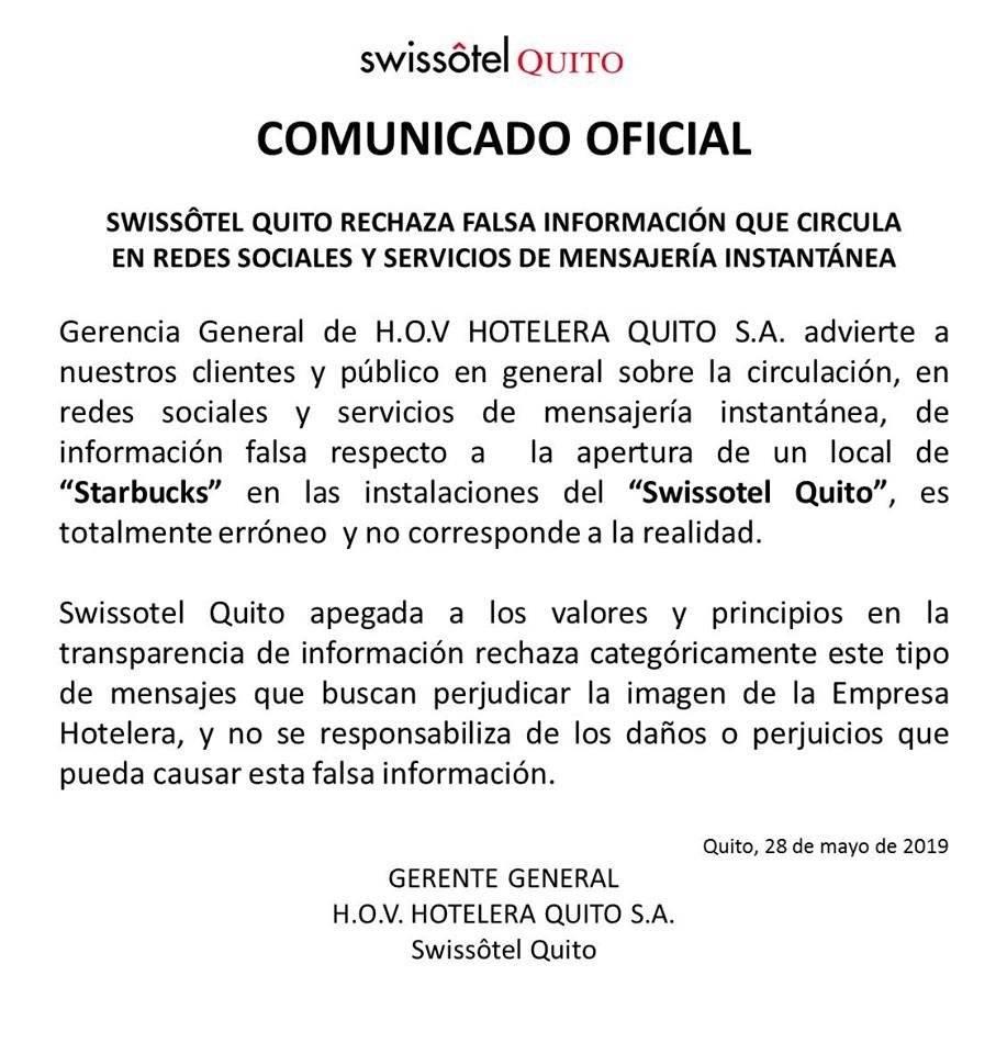 Comunicado Swissôtel Quito