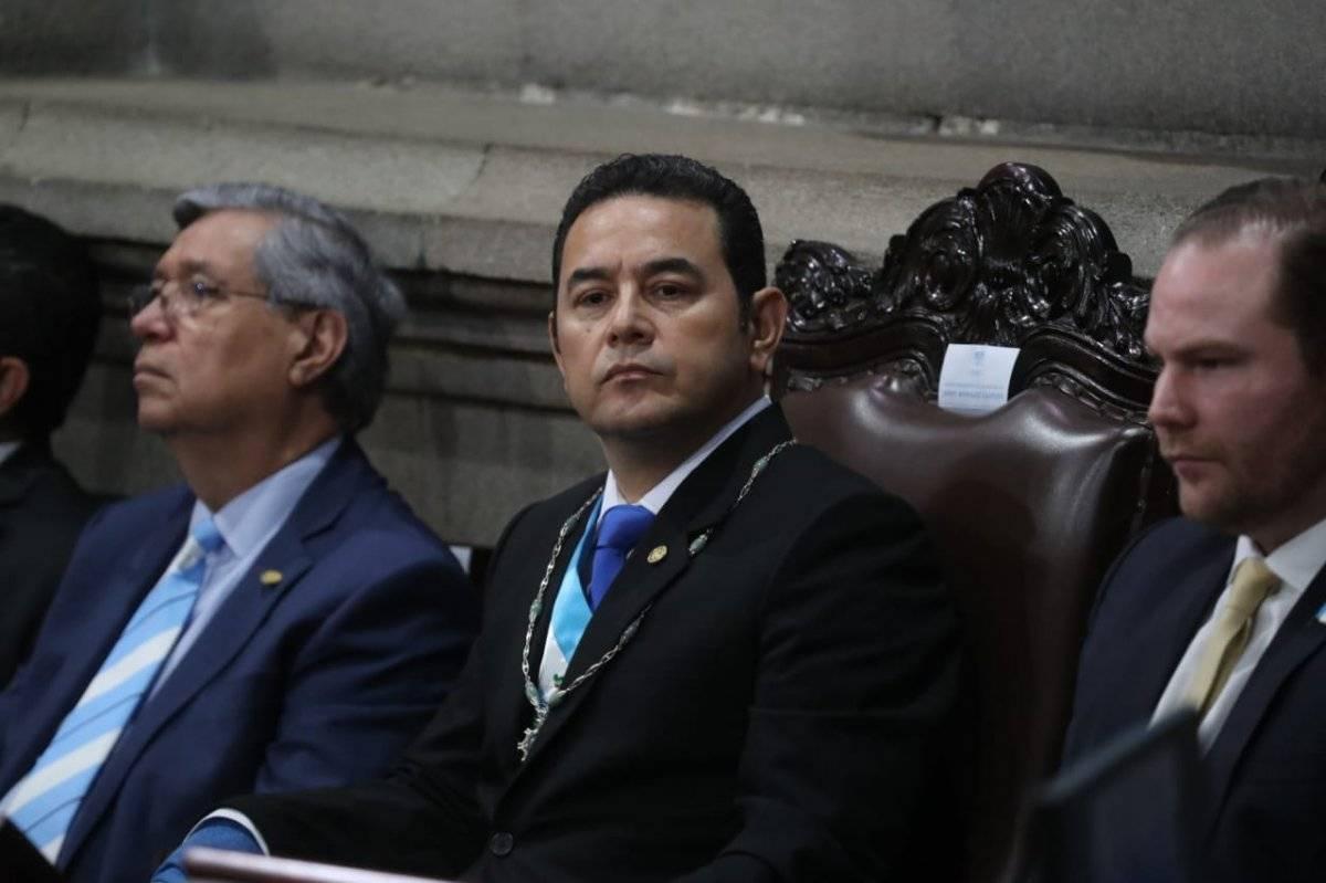 presidente Jimmy Morales en sesión solemne por 34 aniversario de la Constitución