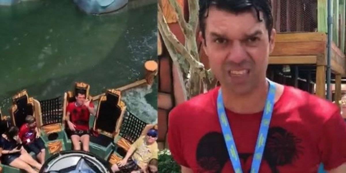 Hombre se molesta por mojarse en atracción de Universal Studios