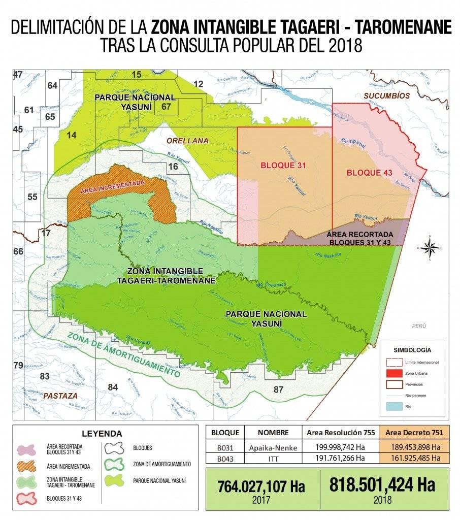 Delimitación de la zona intangible a Zona Intangible Tagaeri - Taromenane tras Consulta Popular de 2018