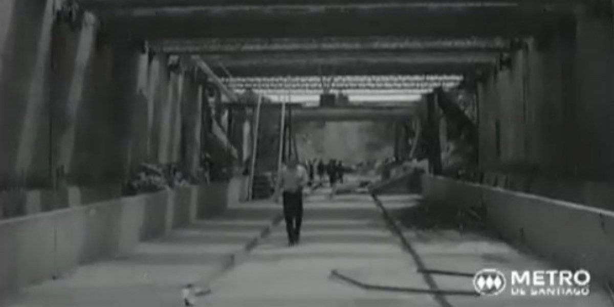 50 años no son nada: el particular detalle que impactó a tuiteros en inédito video de la construcción de la Línea 1 del Metro de Santiago