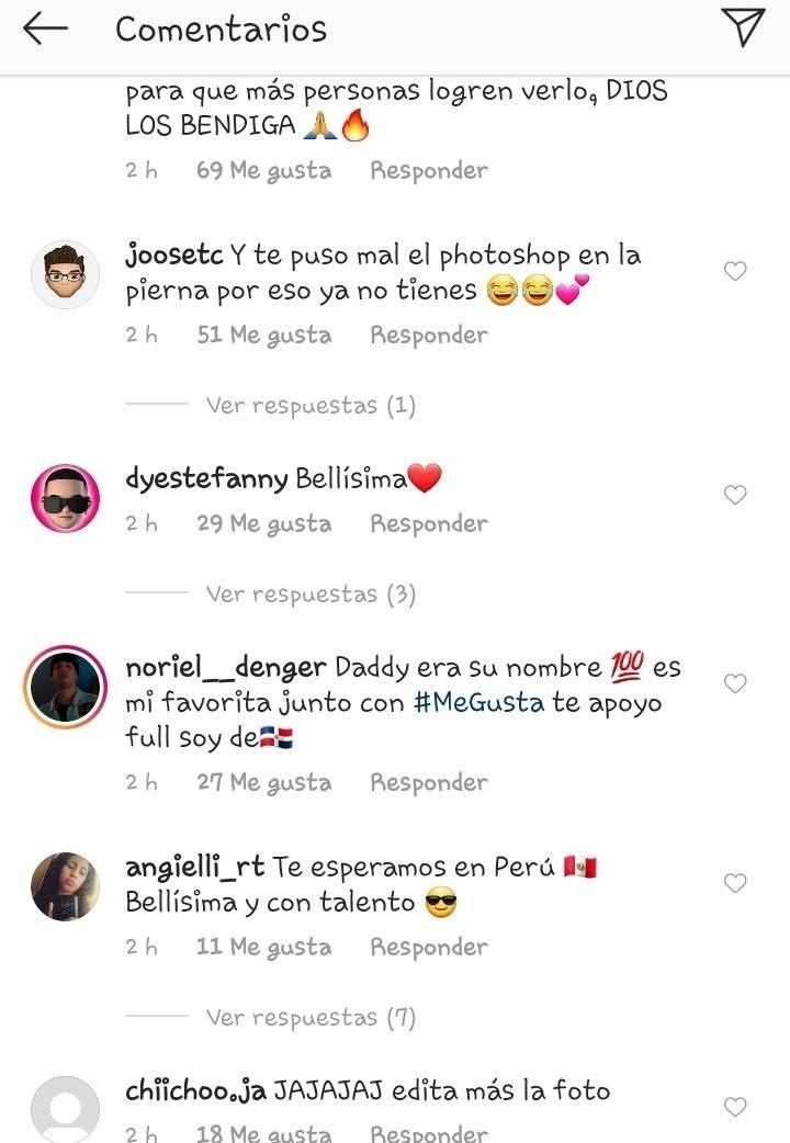 Reacciones de los fans de Natti Captura de pantalla