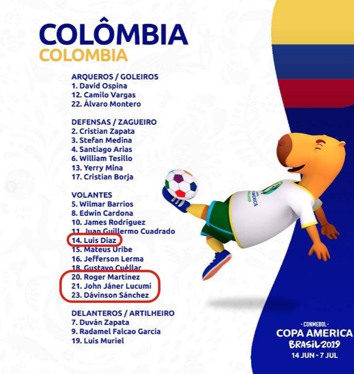 Error Conmebol nómina de Colombia