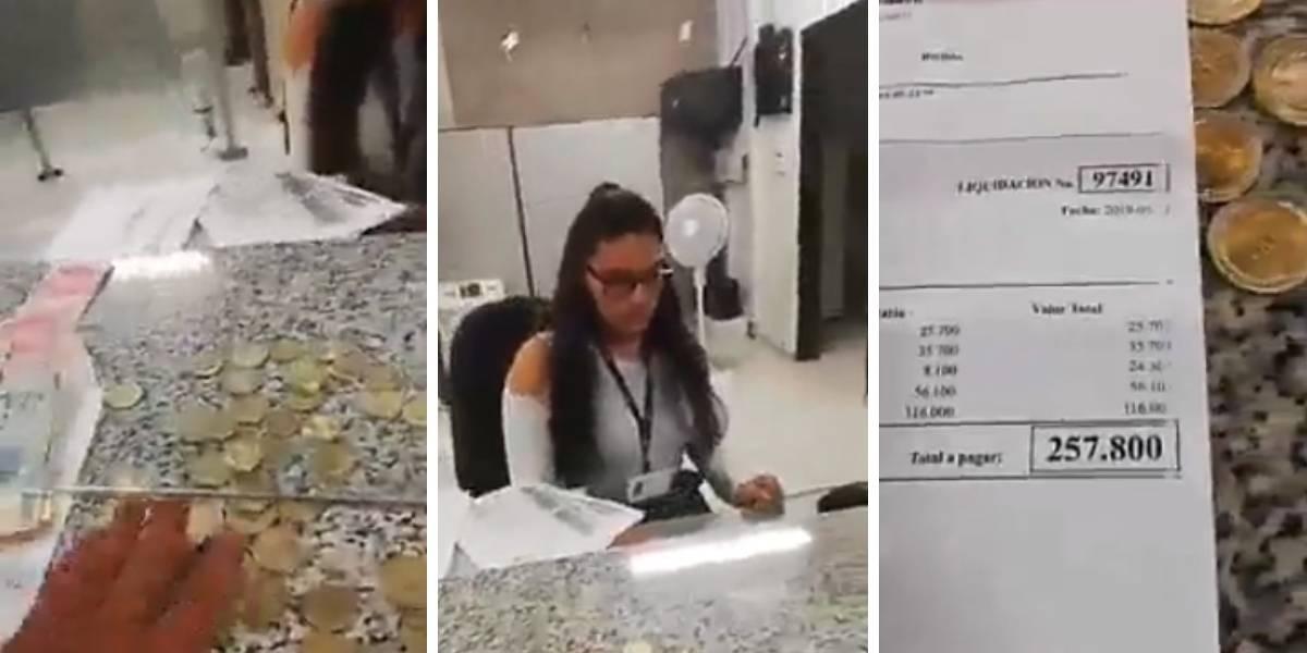 (VIDEO) Quiso pagar multa con monedas de $500 y funcionaria no se las recibió