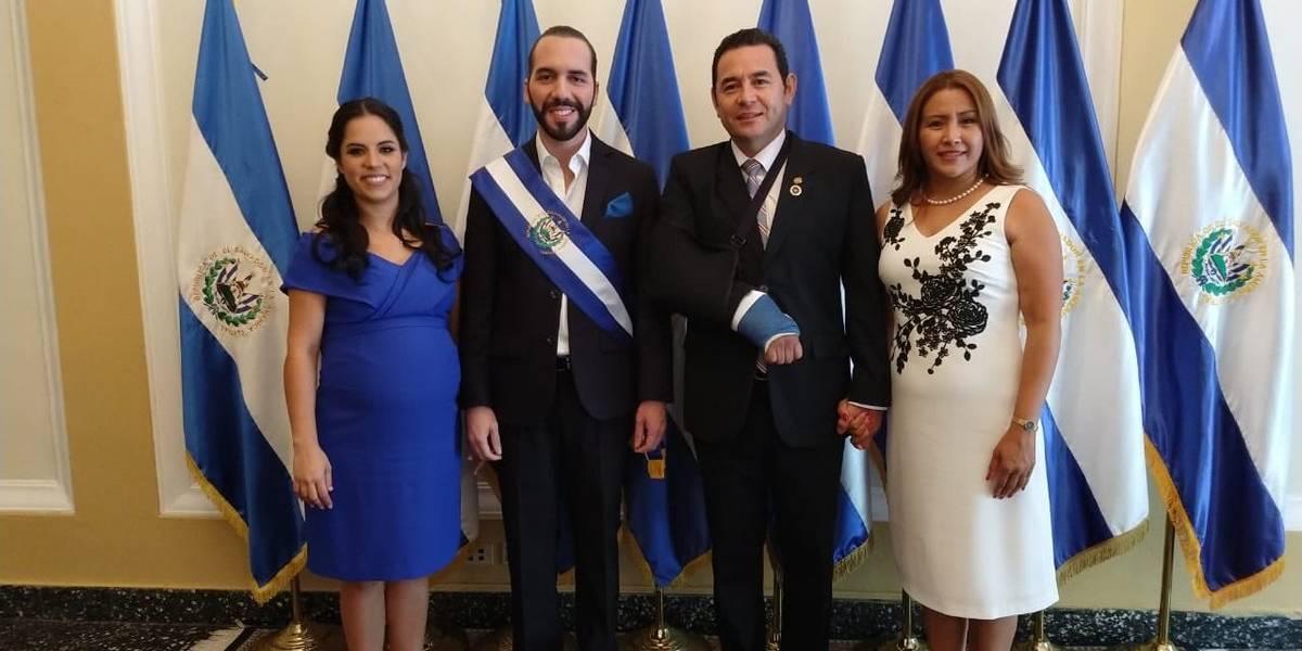 Nayib Bukele recibe a Jimmy Morales en la Casa Presidencial de El Salvador