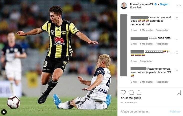 8. Colombianos insultan a jugador de Nueva Zelanda