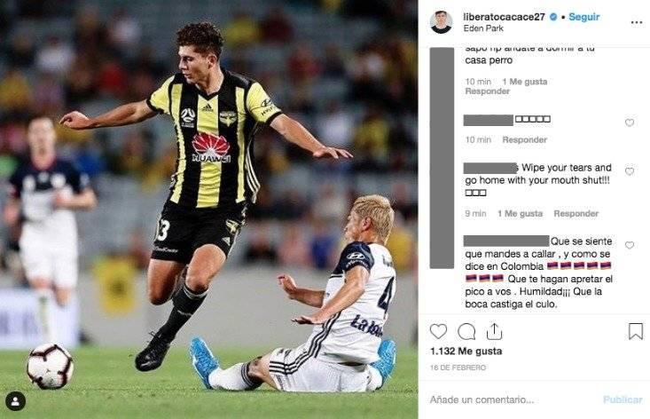 7. Colombianos insultan a jugador de Nueva Zelanda