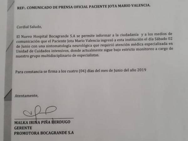 Comunicado salud Jota Mario Valencia