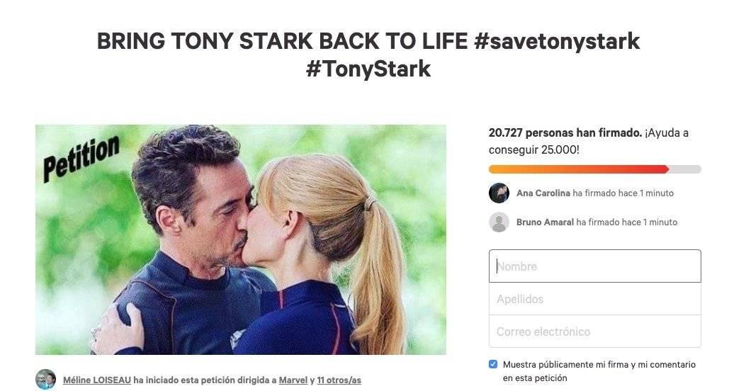 Fans de Avengers: Endgame hicieron petición para que Iron Man regrese a la vida