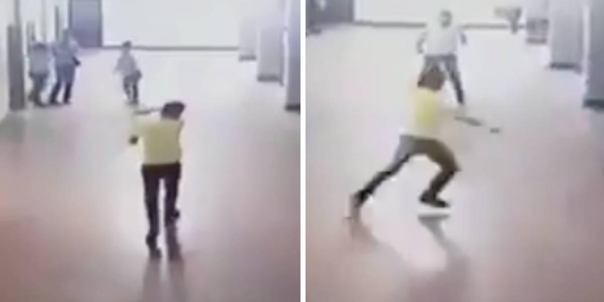 (VIDEO) Joven con cuchillo ingresa a colegio y ataca a los estudiantes