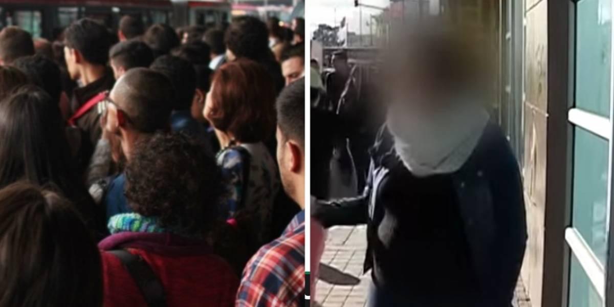 Mujer embarazada fue golpeada en su estómago en estación de TransMilenio