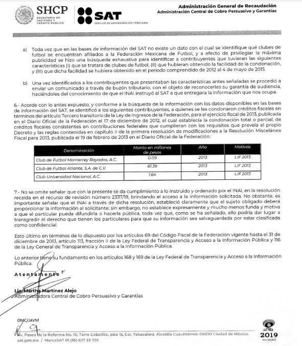 Los clubes cumplieron con los requisitos que pidió el SAT |SAT