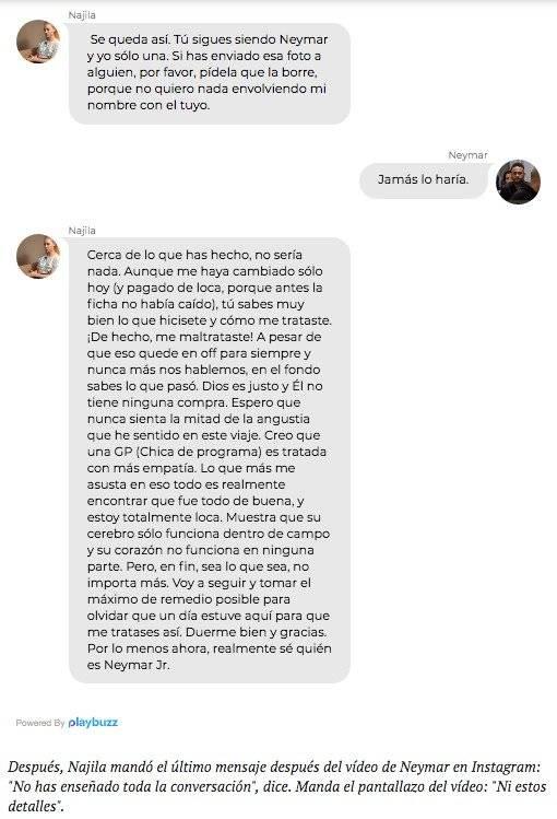 Filtran las conversaciones de WhatsApp entre Neymar y Najila