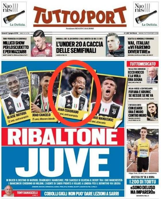 Cuadrado afuera Juventus según Tuttosport