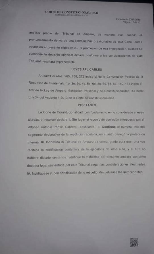 Oficio sobre resolución del candidato Alfonso Portillo