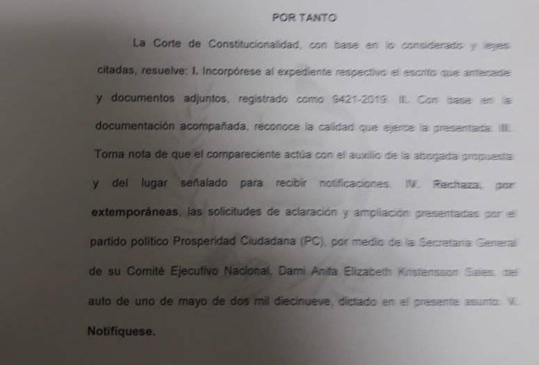 Resolución de CC sobre recurso interpuesto por Edwin Escobar