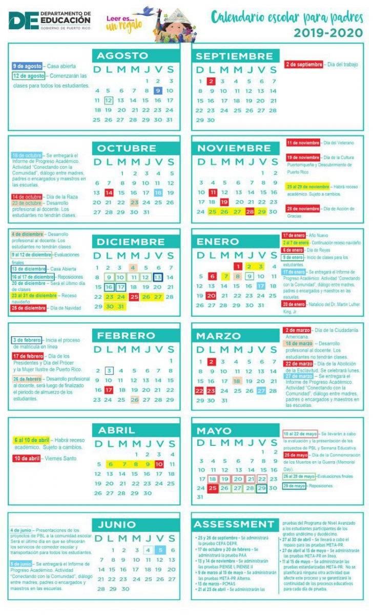 Calendario académico, Departamento de Educación