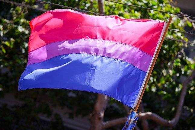 Bisexual. Fue diseñada por Michael Page y da visibilidad a la comunidad bisexual. Muestra la superposición del azul y el rosa, colores estereotipados para niños y niñas. Foto: Wikimedia