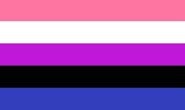 Género fluido. Abarca las fluctuaciones y la flexibilidad de género en las personas. Presenta colores asociados con la feminidad, la masculinidad y todo lo que se encuentra en el medio. Rosa, feminidad. Blanco, la falta de género. Púrpura, combinación de masculinidad y feminidad. Negro, todos los géneros. Azul, masculinidad. Foto: Wikimedia