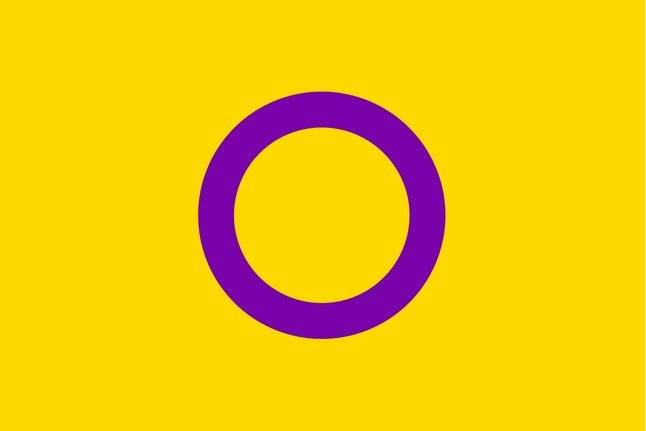 Intersex. Fue diseñada en 2013 por la organización Intersex International Australia. Representa. Intencionalmente muestra colores que celebran vivir fuera del binario Foto: Wikimedia