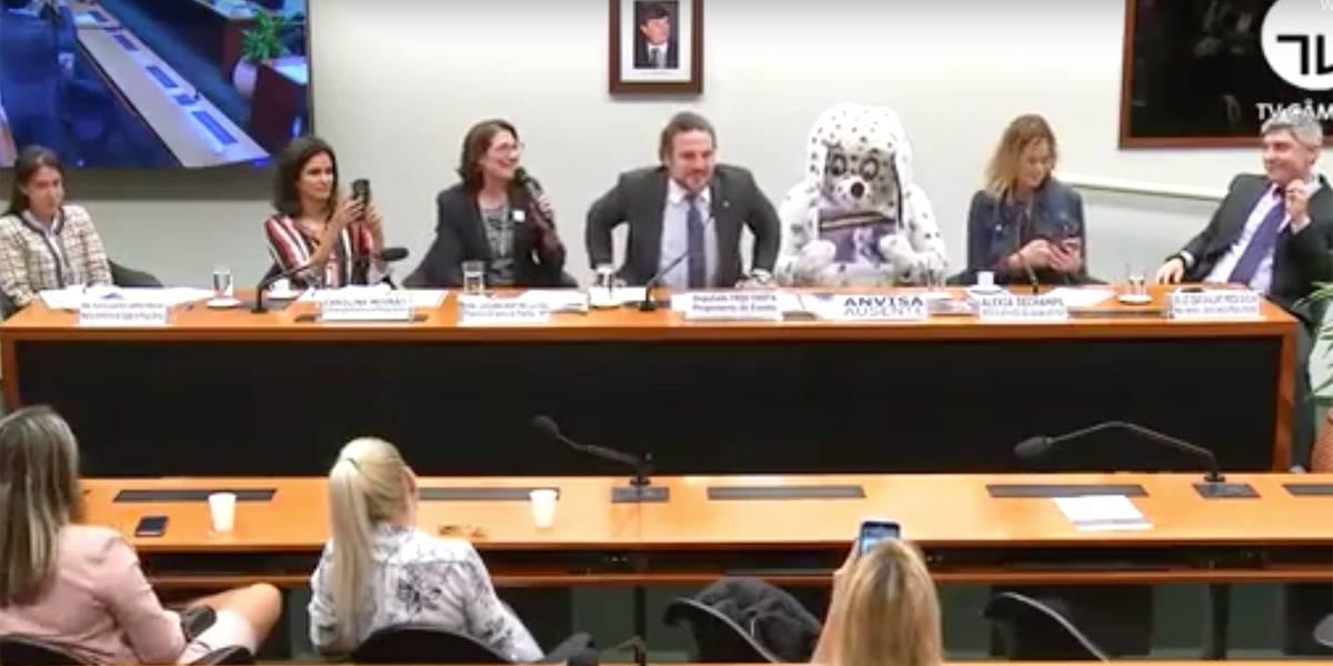 Vídeo: homem se fantasia de cão em audiência no Congresso