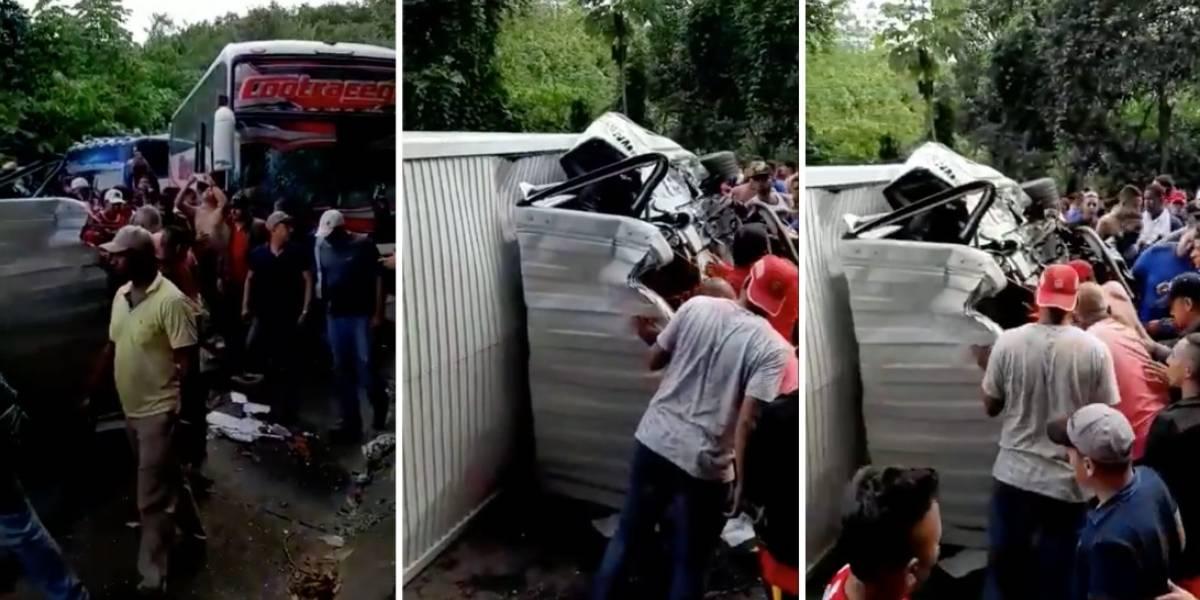 ¡Atención! Bus que transportaba hinchas del Junior hacia Bogotá se accidentó