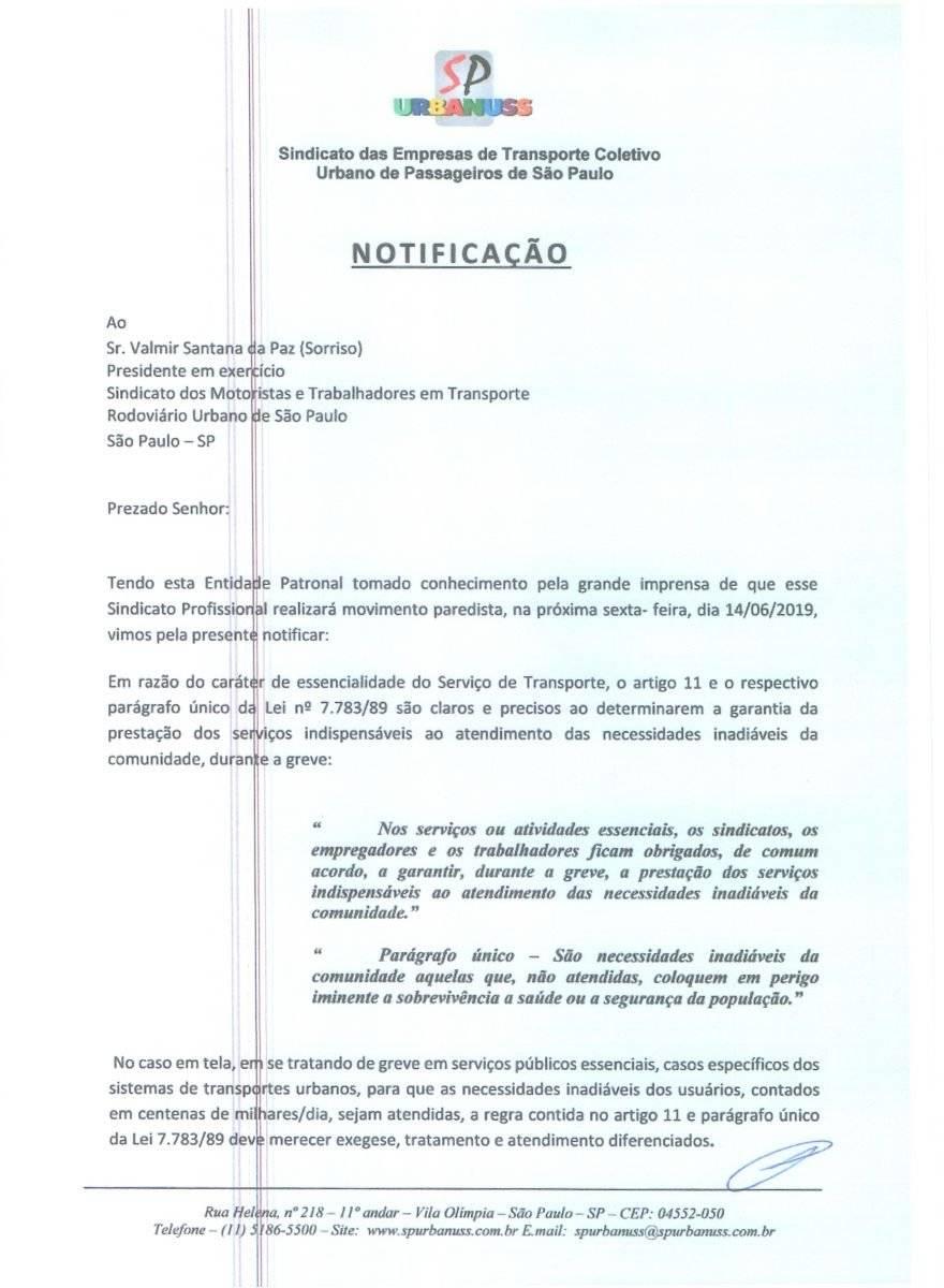 Notificação da SPUrbanuss ao SindMotoristas Reprodução