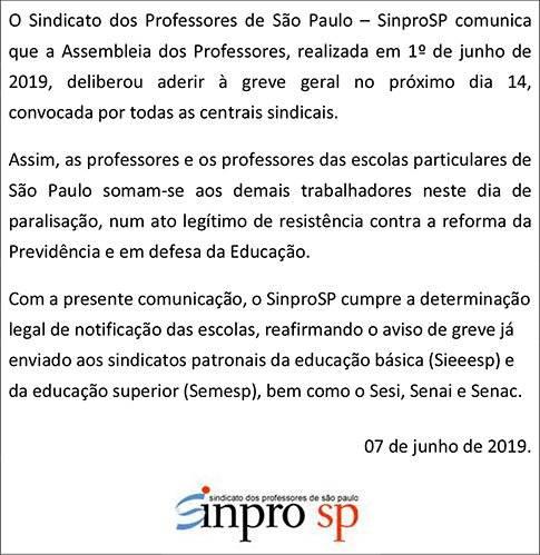 Comunicado SinproSP greve geral dia 14 de junho de 2019