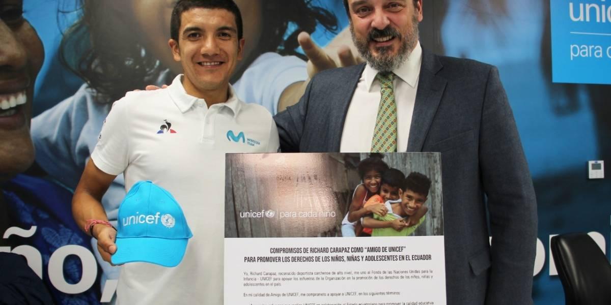 Richard Carapaz se une a Unicef para promover los derechos de los niños
