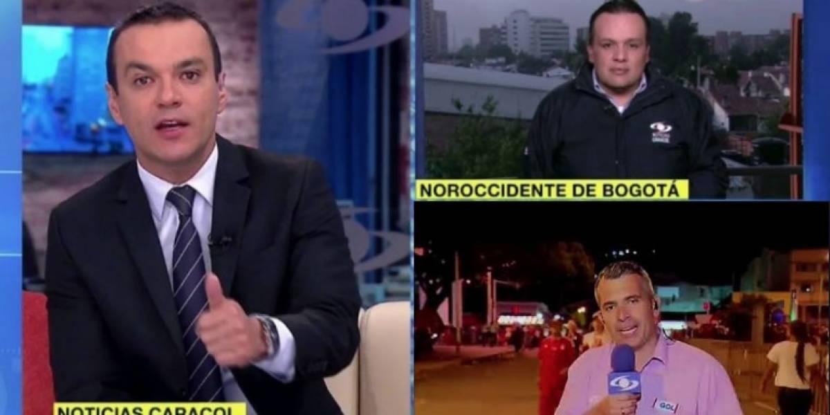 """A presentador de 'Noticias Caracol' """"lo cogieron de parche"""" en plena transmisión"""