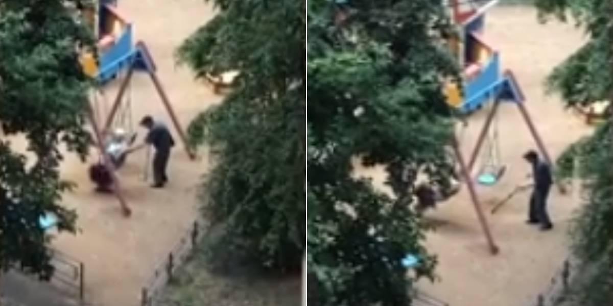 (VIDEO) Pareja de ancianos protagoniza un dulce momento en un parque infantil y enternece a las redes