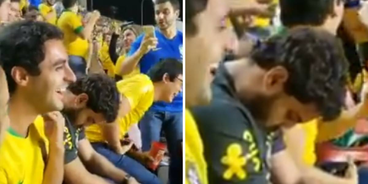 Video de hincha que se duerme en partido Brasil vs Bolivia causa burlas en redes