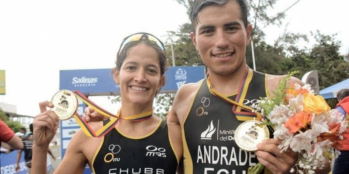 Juan José Andrade y Elizabeth Bravo ganan oro en Triatlón