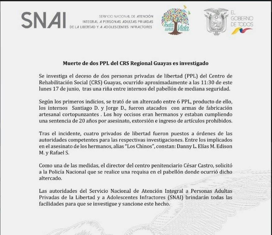 Cuatro reclusos involucrados por la muerte de dos privados de libertad en la Penitenciaría de Guayaquil