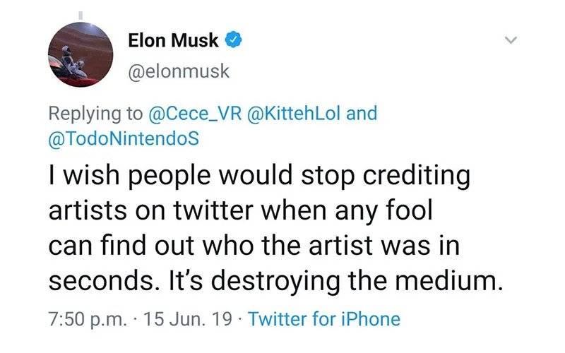 Elon Musk posteó un dibujo de Nier: Automata sin dar crédito a su autor y el internet estalló
