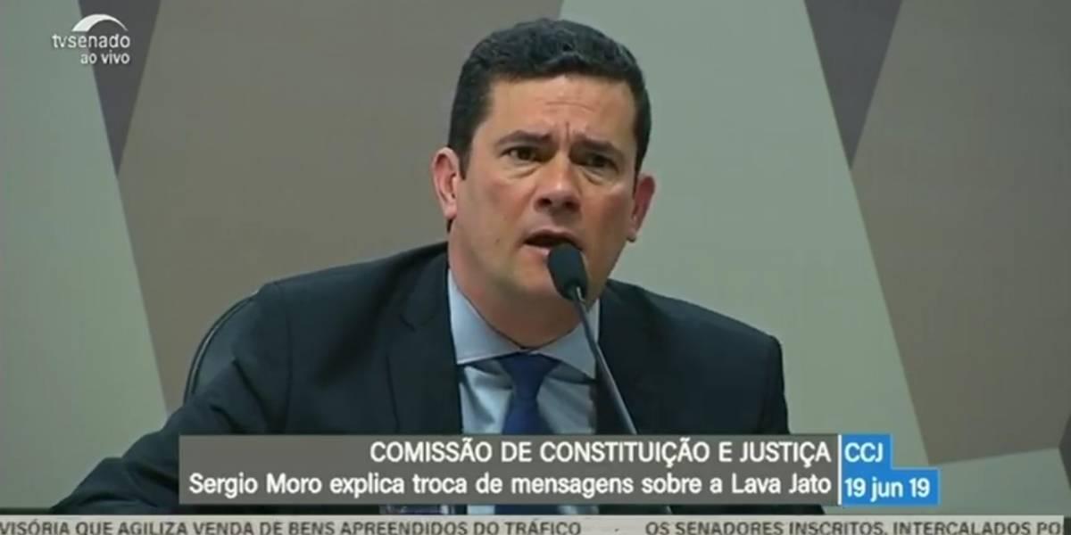 AO VIVO: Sergio Moro responde questionamentos de senadores sobre mensagens privadas divulgadas