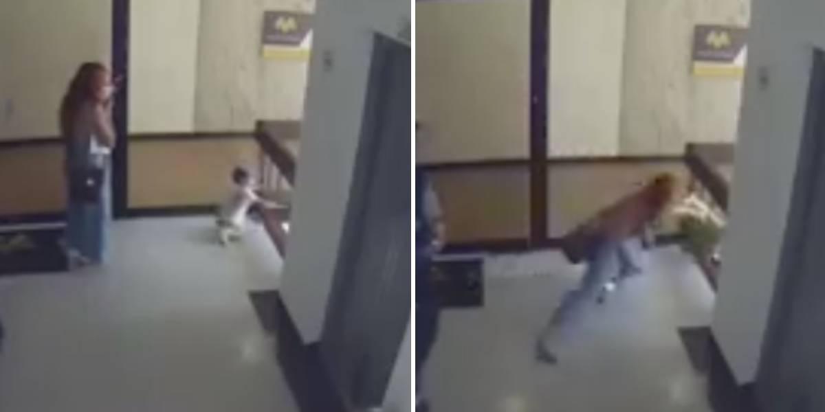 (VIDEO) Madre logra salvar a su hijo de caer al vacío
