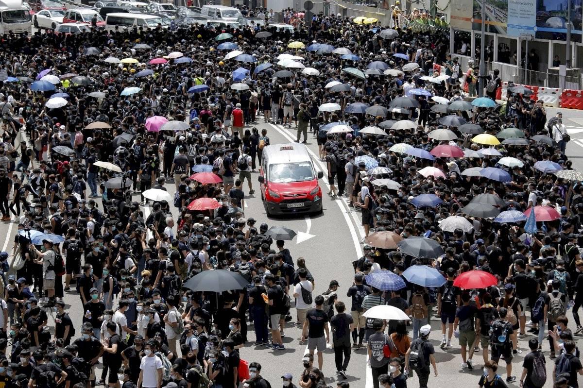 Manifestaciones en Hong Kong este viernes Foto: AP