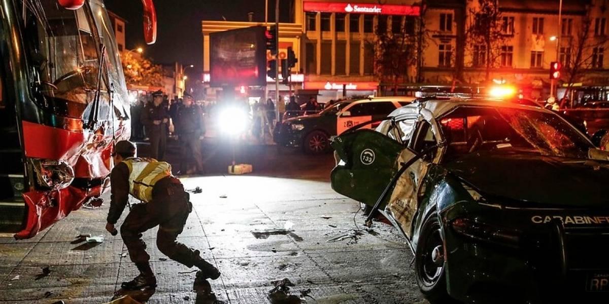 Accidente de tránsito en Estación Central deja en riesgo vital a un Carabinero y a otro con lesiones graves