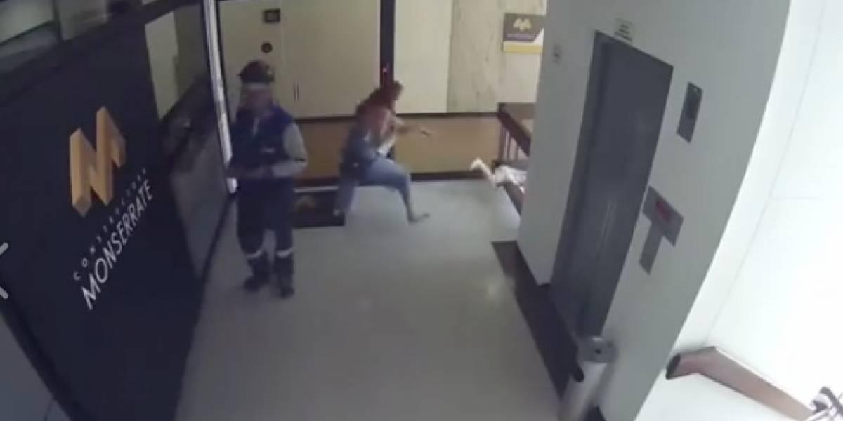 ¡Impactante video! Mujer salvó a su bebé de caer al vacío en edificio de Colombia