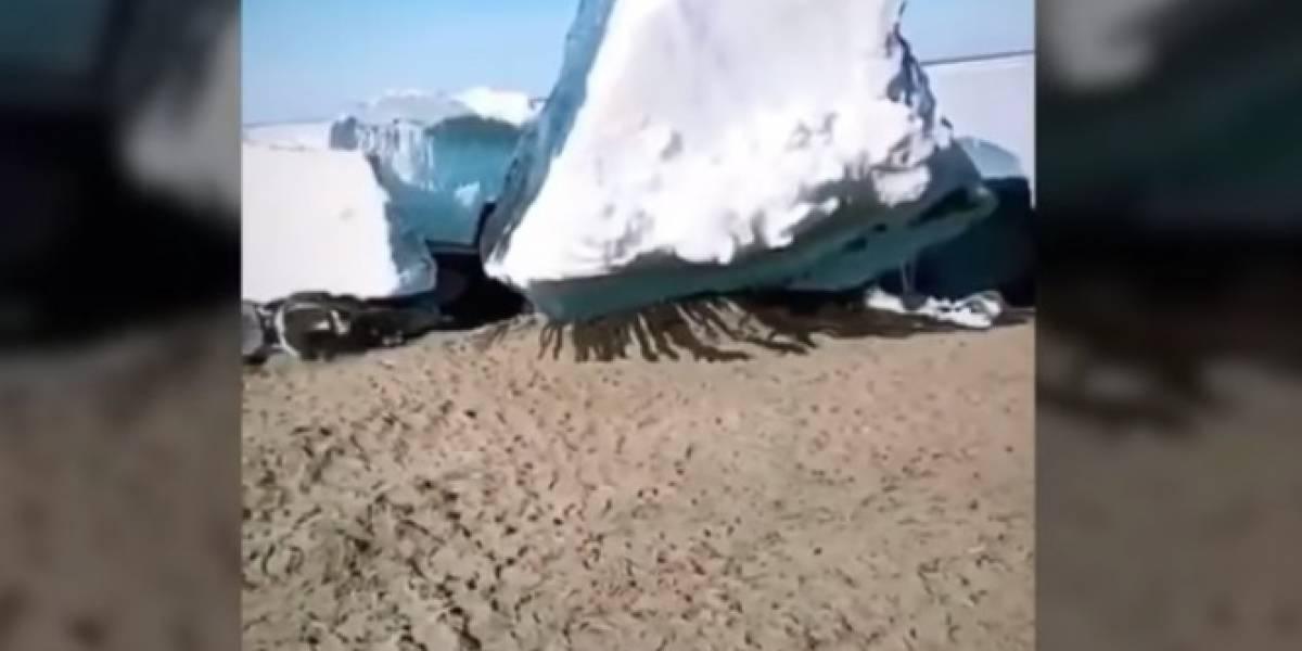 """Impresionante registro: el terrorífico """"tsunami de hielo"""" que sorprendió a los habitantes del extremo norte de Rusia"""